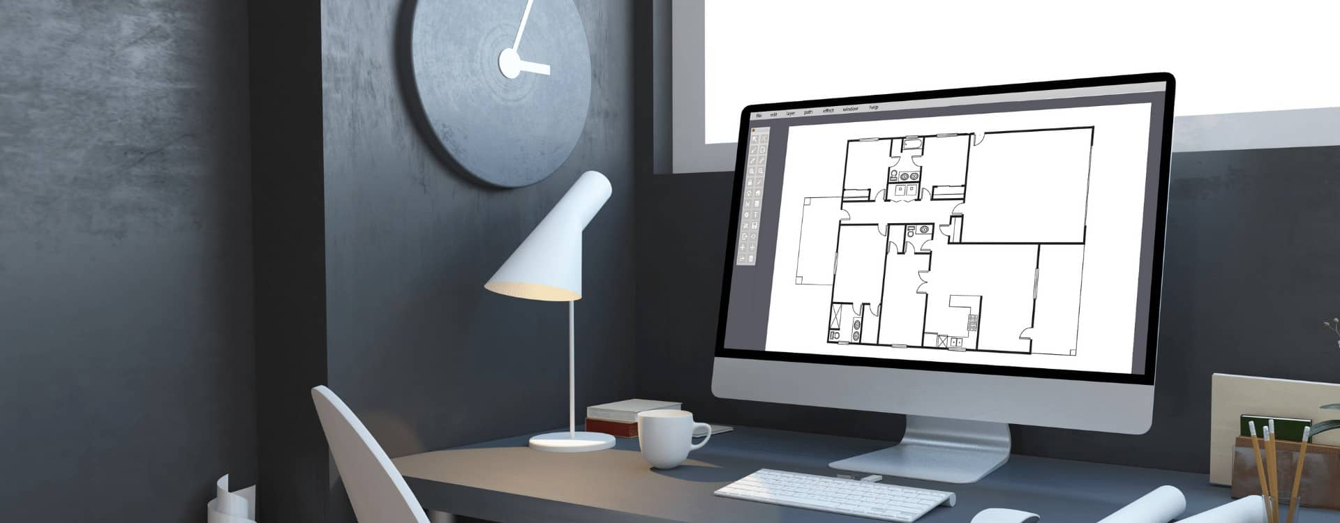 ordenador de mesa mostrando un plano de Ficherotecnia